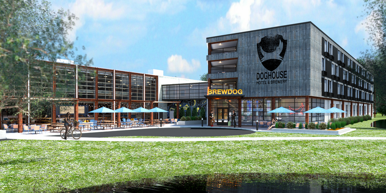 The front lawn and property of the BrewDog Doghouse Hotel and Brewery in Central Ohio with umbrellas and green grass.