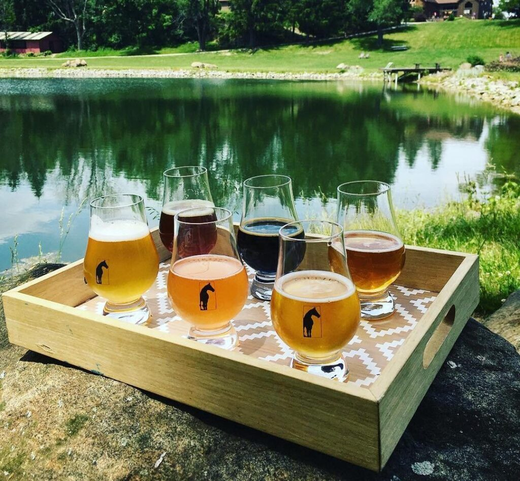 Six alcohol flights at Rockmill Brewery by a pond in Hocking County.