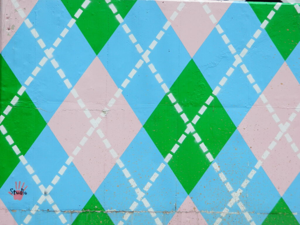 Argyle mural painting.
