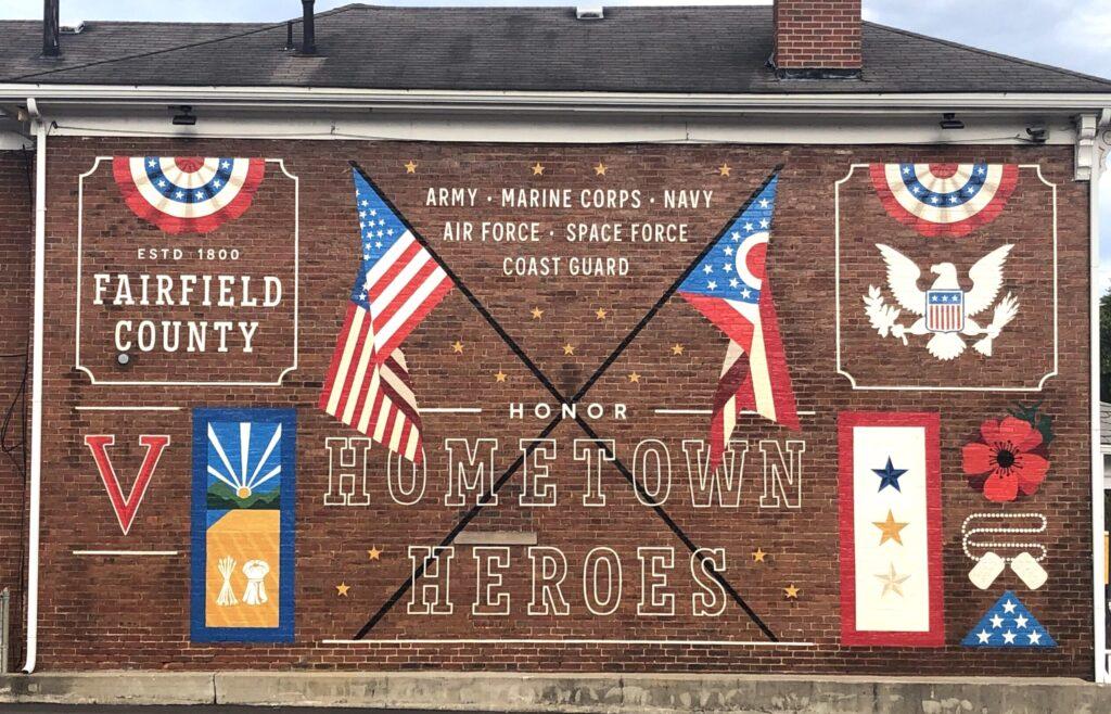 Th Hometown Heroes mural in Fairfield County, Ohio.