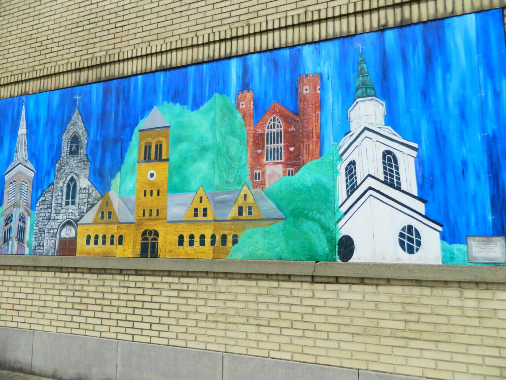 A mural painting of the Lancaster, Ohio skyline.