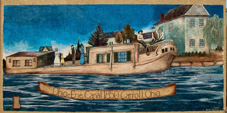 A local mural painting of a boat on the Ohio-Erie Canal.