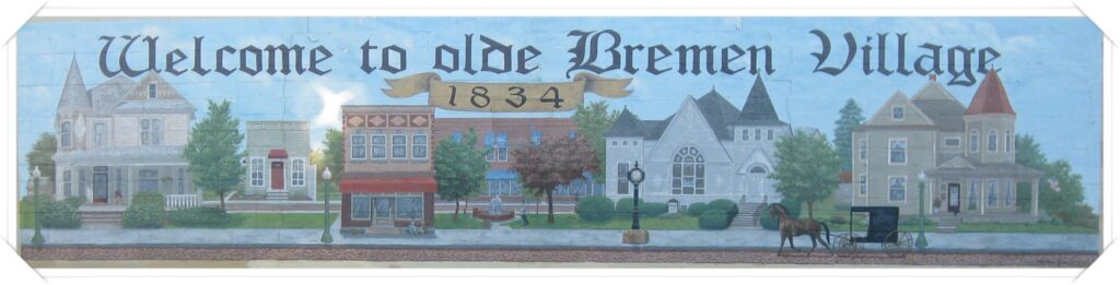 """A painting of a town that says """"Welcome to Olde Bremen - 1834."""""""